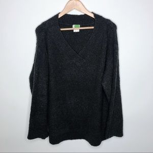 Anthropologie Gray V-Neck Fuzzy Sweater Size XL